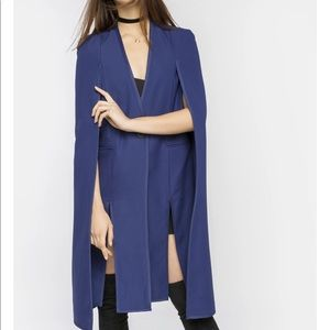 Kendall + Kylie Tuxedo Long Cape Blue Jacket Large